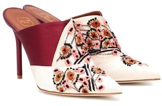 Malone Souliers Portia 100 embroidered satin mules