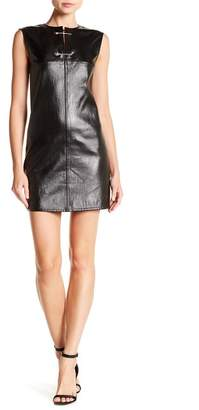 Helmut Lang Coated Leather Safety Pin Dress