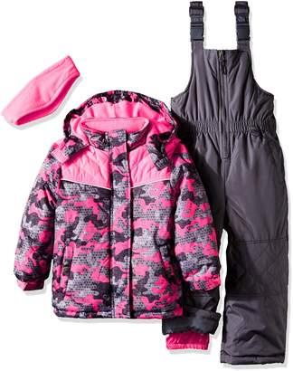 Pink Platinum Little Girls' Camo Heart Print Better Snowsuit