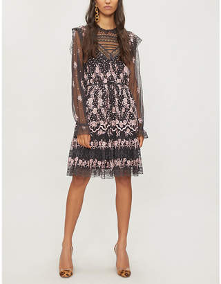 NEEDLE AND THREAD Eclipse ruffled floral-embroidered dress