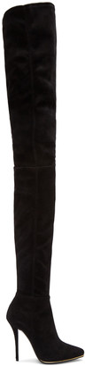 Balmain Black Suede Catherine Over-the-Knee Boots $3,055 thestylecure.com
