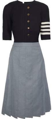 Thom Browne Button-Detailed Intarsia-Knit And Wool-Blend Twill Midi Dress