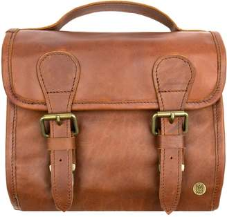 MAHI Leather - Leather Hanging Wash Bag In Vintage Brown With Buckles