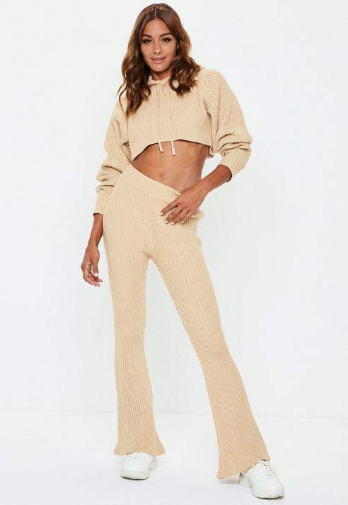 Sand Ribbed Knitted Co Ord Trousers, Sand