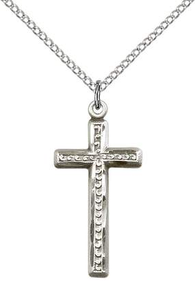 """Silver Cross F.A. Dumont Church Supplies Sterling Pendant with 18"""" Sterling Silver Lite Curb Chain."""