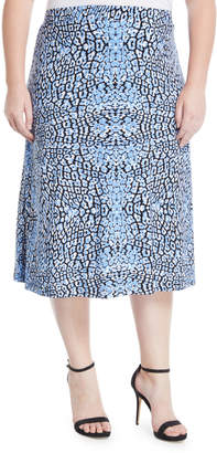 Kasper Plus Cheetah Print Midi Flare Skirt, Plus Size