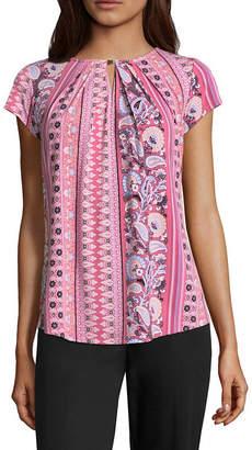 Liz Claiborne Short Sleeve Keyhole Neck Knit Blouse
