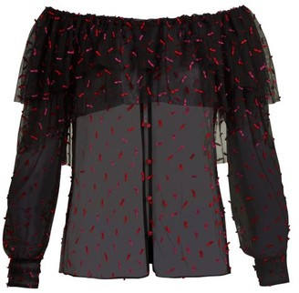 Rodarte Off The Shoulder Tulle Blouse - Womens - Black Multi