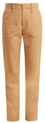 Chloé Mid Rise Straight Leg Crepe Trousers - Womens - Beige
