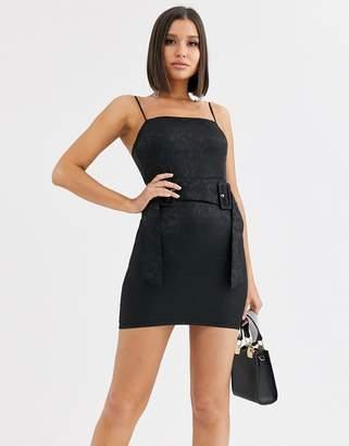 Saint Genies floral jacquard slip dress with double fabric buckle waist belt in black