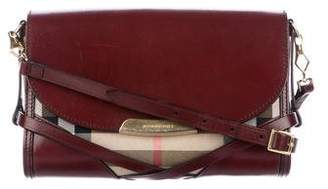 Burberry Leather-Trimmed Nova Check Crossbody Bag