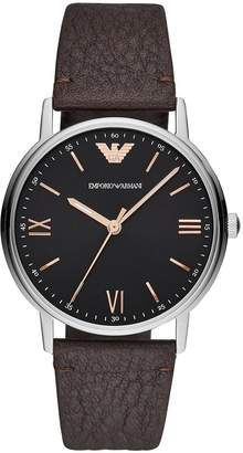 Emporio Armani Stainless Steel Dress Brown Leather Strap Mens Watch