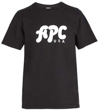 A.P.C. Marky Logo Print Cotton T Shirt - Mens - Black