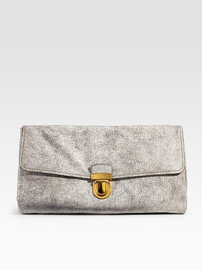 Prada Craquele Leather Clutch