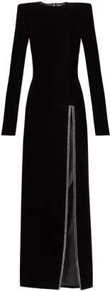 Crystal-embellished slit-front velvet gown
