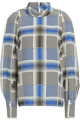 Joseph Laurel Checked Silk Crepe De Chine Blouse