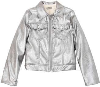 Faux Leather & Faux Fur Metallic Jacket