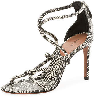 Alaia Knotted Printed Sandals