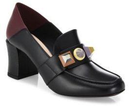 Fendi Rainbow Studded Leather Block Heel Loafer Pumps