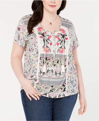 Style&Co. Style & Co Plus Size Mixed-Print Peasant Top