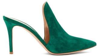 Gianvito Rossi Aramis 85 Suede Mules - Womens - Dark Green
