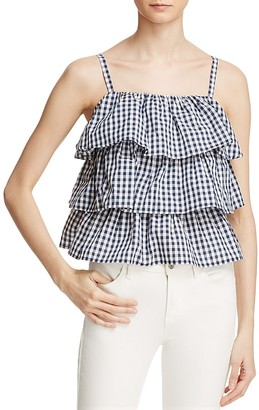 AQUA Gingham Tiered Ruffle Top - 100% Exclusive $58 thestylecure.com