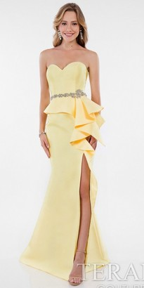 Terani Couture Strapless Side Ruffle High Slit Evening Dress $330 thestylecure.com
