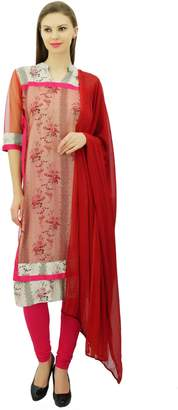 BEIGE Atasi Women's Polyester Double Layered Straight Suit Set Indian Dress
