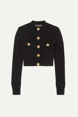 Balmain Button-embellished Jacquard-knit Cardigan - Black