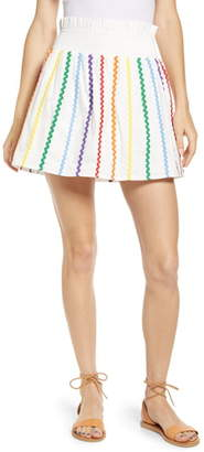 ENGLISH FACTORY Rainbow Rickrack Cotton Miniskirt