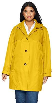 London Fog Women's Double Shoulder Flap Plus Size Rain Coat