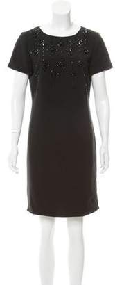 Tahari Arthur S. Levine Embellished Short Sleeve Dress
