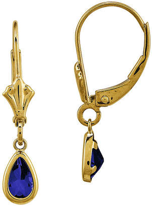 FINE JEWELRY Genuine Blue Sapphire 14K Yellow Gold Pear Drop Earrings