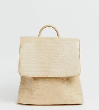 Glamorous beige mock croc backpack