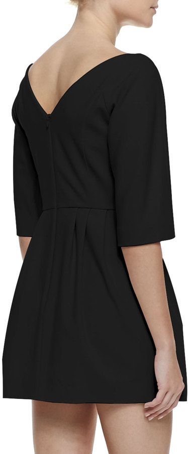 RED Valentino 3/4-Sleeve Bow-Waist Dress with V'd Back, Black