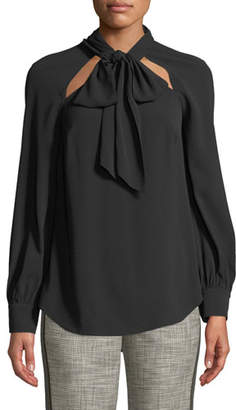 Veronica Beard Teel Tie-Neck Cutout Long-Sleeve Blouse