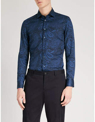 Etro Paisley-print tailored-fit cotton-poplin shirt