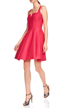 Halston Sleeveless Geo-Neck Faille Cocktail Dress