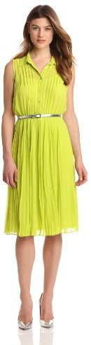 Amy Byer Women's Sleeveless Button Front Dress With Collar