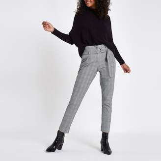 River Island Womens Black check ring belt peg trousers