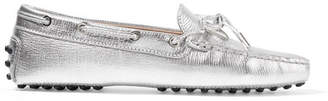 Tod's Gommino Embellished Metallic Textured-leather Loafers - Silver