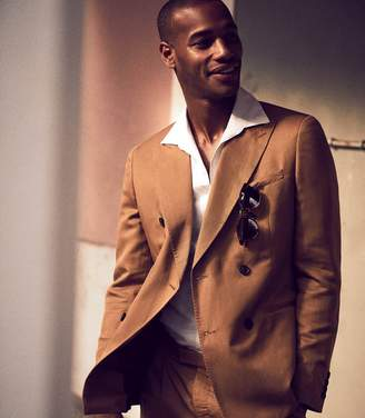 Reiss ALABAMA Linen Blend Double Breasted Blazer Tobacco