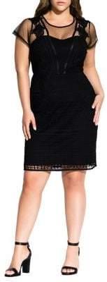 City Chic Plus Mesh Allette Dress