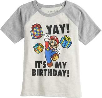 "Boys 4-12 Jumping Beans Super Mario Bros. ""Yay! It's My Birthday!"" Raglan Graphic Tee"