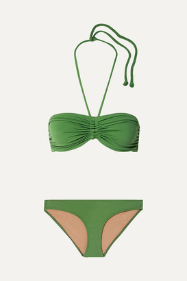 Three Graces London Millicent Ruched Bandeau Bikini - Lime green