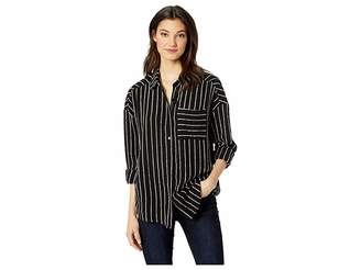 Miss Me Pinstripe High-Low Shirt