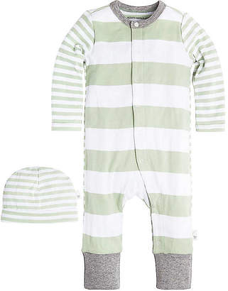 Burt's Bees Baby Mixed Stripe Organic Cotton Coverall and Hat Set