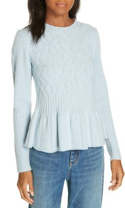Rebecca Taylor Spiral Cable Wool Blend Sweater