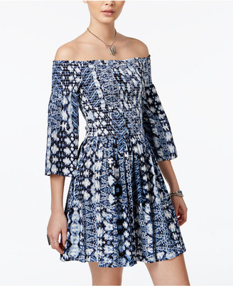 American Rag Printed Off-The-Shoulder Fit & Flare Dress, Only at Macy's $69.50 thestylecure.com