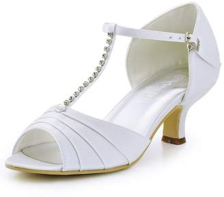 ElegantPark EL-035 Women Satin T-Strap Peep Toe Sandals Mid Heel Ruched Rhinestones Evening Prom Shoes US 9